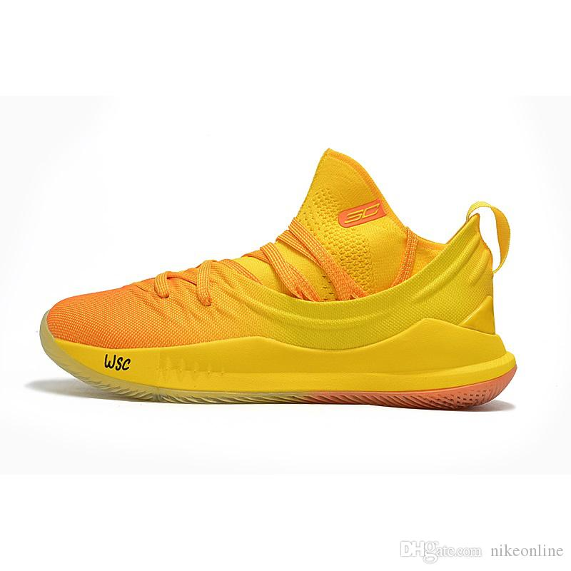 9c74aa275ad 2019 Cheap 2018 New Mens UA Stephen Curry 5 V Low Cut Basketball Shoes  Yellow Black Gold Blue SC30 Sneakers Boots With Original Box For Sale From  Nikeonline ...