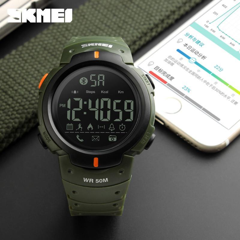 8364db7f1c1d Compre Bluetooth Calorías Podómetro Reloj Inteligente SKMEI 1301 Para  Hombres LED Relojes De Prueba De Choque De Agua Multifunción Relojes  Digitales ...
