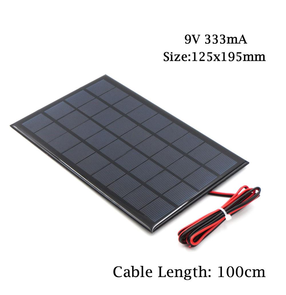 X 6v 9v 18v Solar Panel With 100 200cm Wire Mini System Diy Cell Wiring For Battery Phone Charger 2w 3w 45w 6w 10w Toy Electric Energy