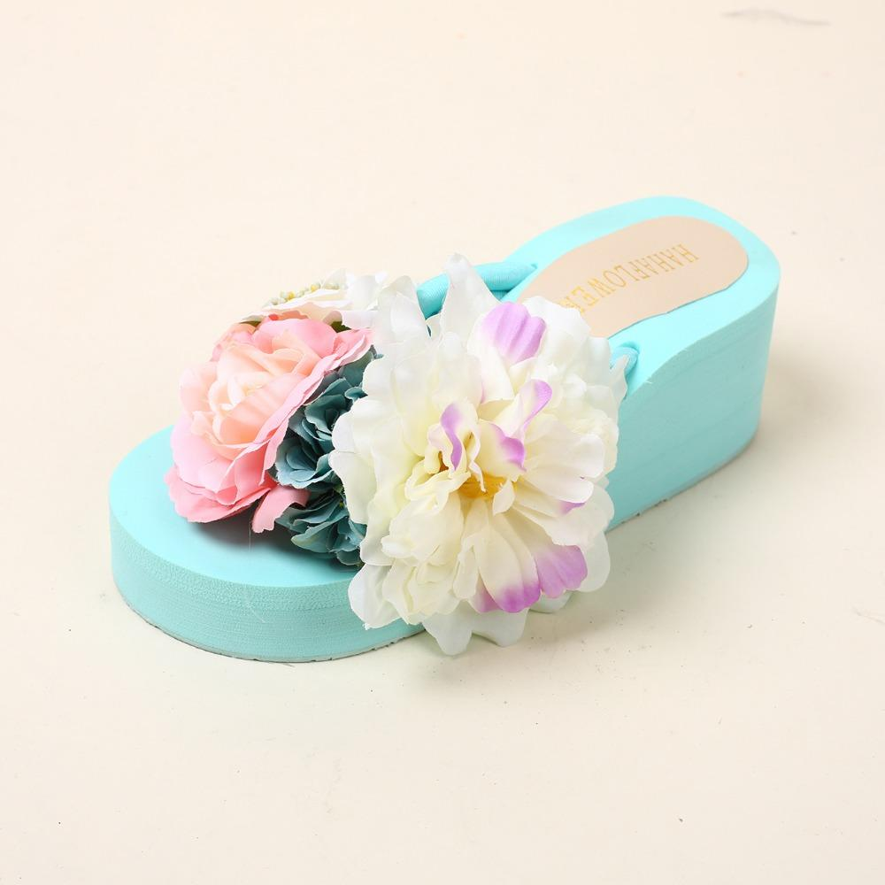 HAHAFLOWER Women Slippers High Thick Heel Sandals Platform Ladies Wedges Flip Flops Thick High Heels Summer Sandals