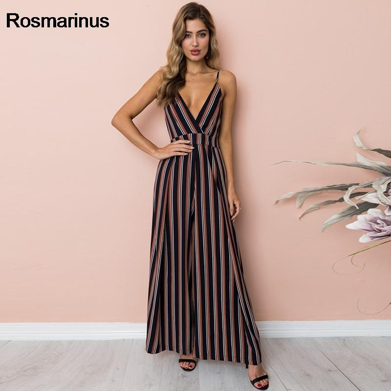 Flower Print Sexy Summer Jumpsuit Romper Women Deep V Neck Backless Bow Stripe Long Playsuit Boho Beach Jumpsuit Female Overalls