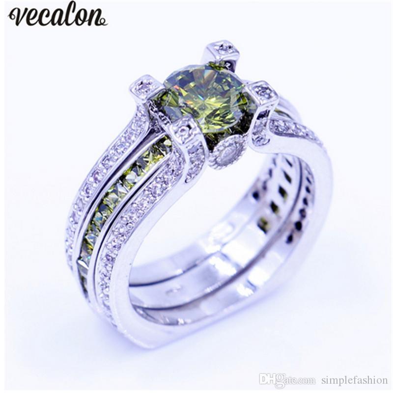 Vecalon New Lady Anillo de aniversario Olive 5A zircon Cz Anillo de boda llenado de oro blanco Set para mujer Hombre Birthstone Jewelry