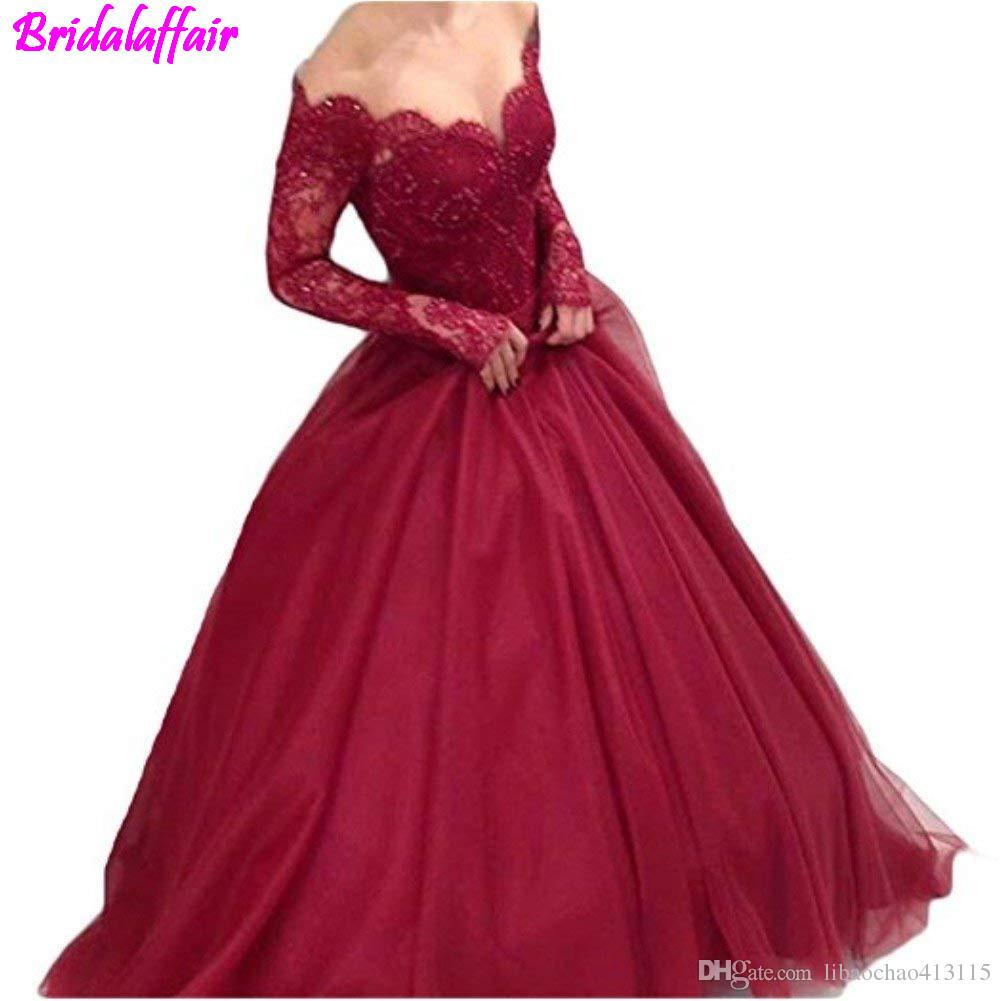 Women S Off Shoulder Lace Prom Dress Long Sleeves Ball Gown For Bride Formal  Dress Women Elegant Vestidos Largos Robe Soiree Party Dresses Uk Dresses  All ... 64c6a75b5