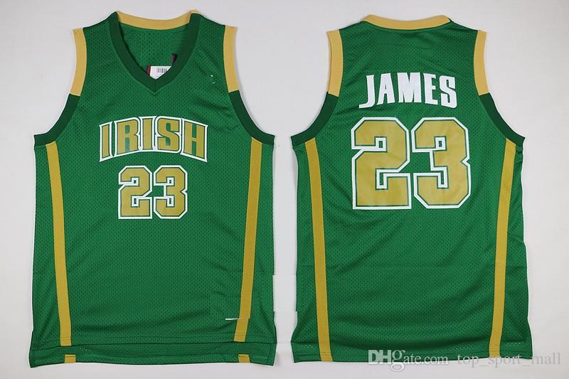 St Vincent Mary Lisesi İrlanda 23 Lebron James Formaları Beyaz Yeşil St. Patrick Kyrie Irving Basketbol Jersey Tune Squad Duke Mavi Şeytanlar