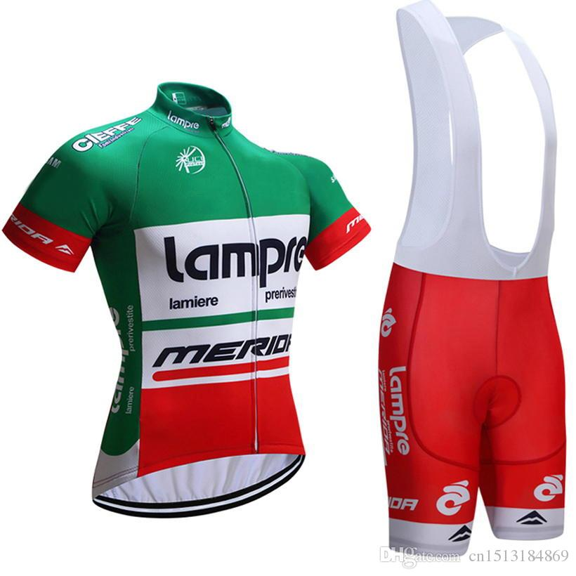 UCI 2018 Pro Team Lampre Merida Short Sleeve Cycling Jersey Kit Ropa  Ciclismo Breathable Bicycle Clothing MTB Bike Jersey Bib Shorts Set Lampre  Merida ... ff559fed2