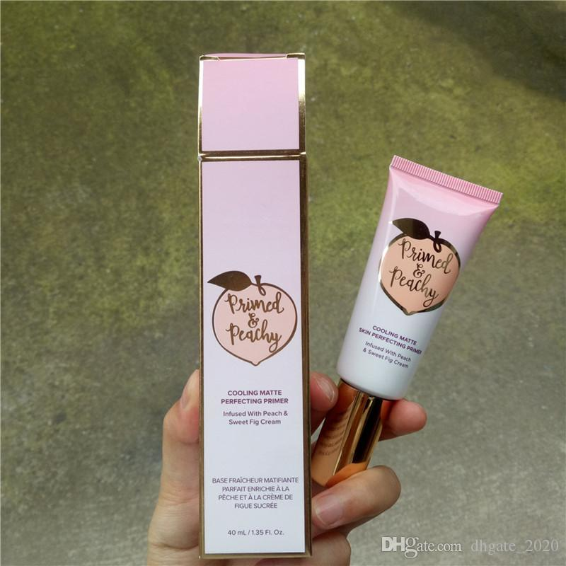 Newest Primed Peachy Cosmetics 40ML Cooling Matte Skin Perfecting Primer Infused with Peach&Sweet Fig Cream Faced Foundation Primer DHL