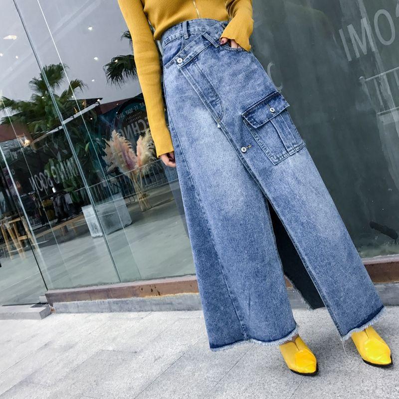6b3e368d44b12 Free Shipping 2018 New Fashion High Waist Long Maxi A-line S-L Denim Jeans  Spring And Summer Women Skirt With Slit Irregular