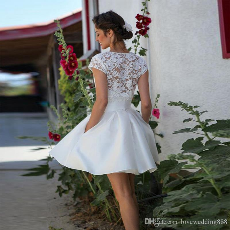 2019 Vintage Short Wedding Dresses with Lace Jacket Summer Beach Wedding Gowns Cheap Boho Bridal Party Dress