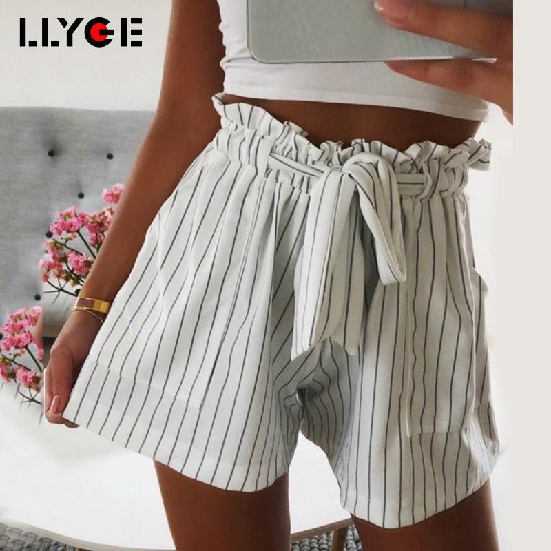 8f7088b5d LLYGE Mujeres Sexy Pantalones cortos de faja de cintura alta Verano con  volados bolsillos con volantes Pantalones cortos sueltos 2018 Pantalones ...
