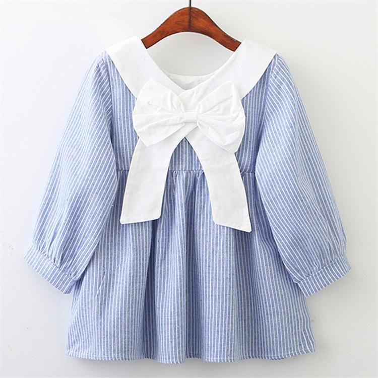 498e63c1b Compre Meninas Do Bebê Vestido De 2018 Novas Meninas Estilo Lolita Rosa  Mangas Compridas Gola Da Boneca Arco Listrado Vestido De Roupas Infantis  H133 De ...