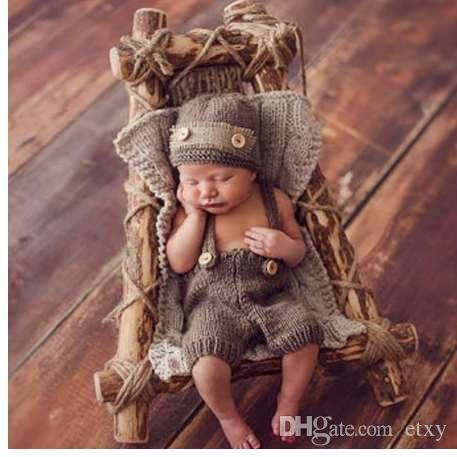Newborn Photography Props Retro Photo Shoot For Baby Boys Infant Hat Pant Crochet Knitted Clothing Accessories Costume Outfit