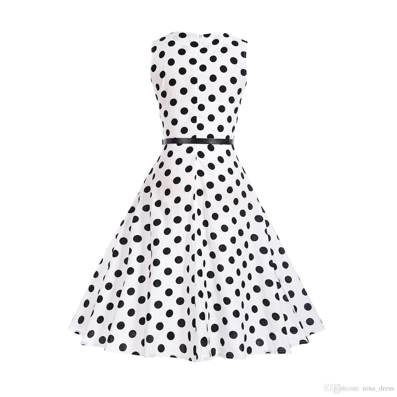 2018 New Polka Dot Dress Hepburn Style Vintage Swing Dress Print Dress a  Hair Substitute Apparel Women s Clothing Party Dresses Online with   13.31 Piece on ... 00f25d25fe26