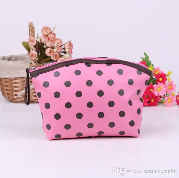 Polka Dots Print Cosmetic Toiletry Pouch Bag - Multifunction Travel Organizer Makeup Bag Handbag with Zipper Closure for Women Promotion !