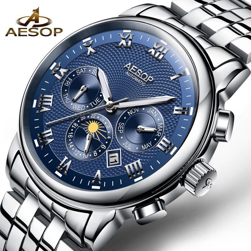 AESOP Fashion Blue Men Watch Men Automatic Mechanical Wristwatch Wrist  Stainless Steel Male Clock Relogio Masculino Hodinky 31 D18100709 Online  with ... e07f14e80a