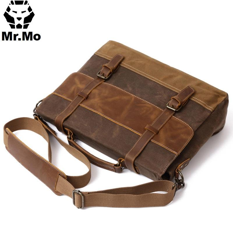a57305fed9c8 Mens Messenger Bag Waterproof Canvas Leather Men Vintage Handbags Large  Satchel Shoulder Bags 15 Inch Computer Laptop Briefcase Evening Bags Stone  Mountain ...