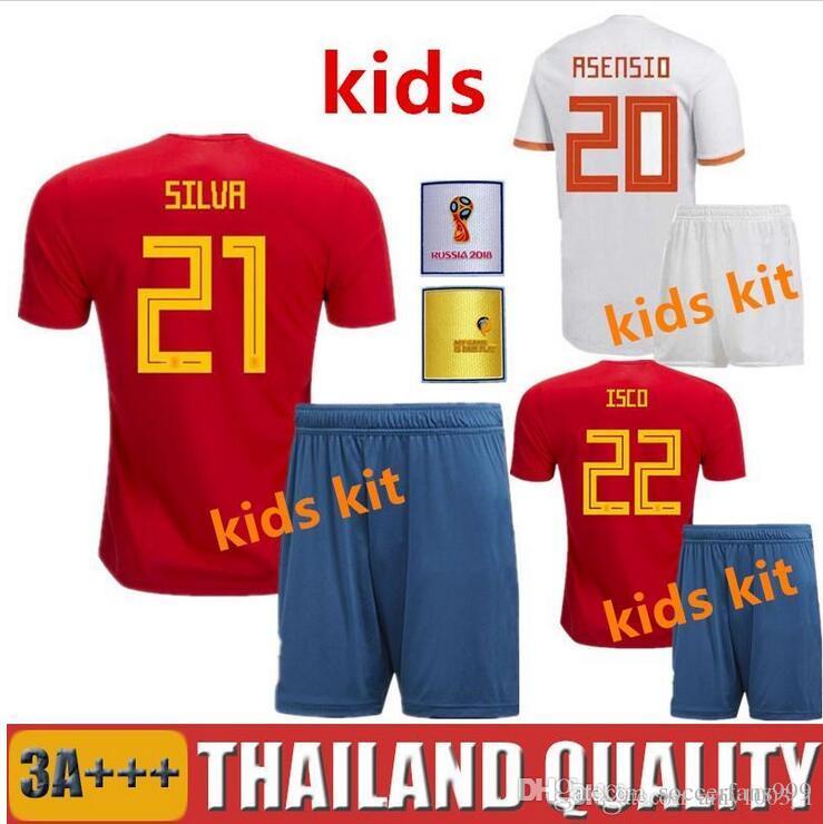 449f4a440 Kids 2018 2019 Spain World Cup Espana Kits Children Away Morata ...