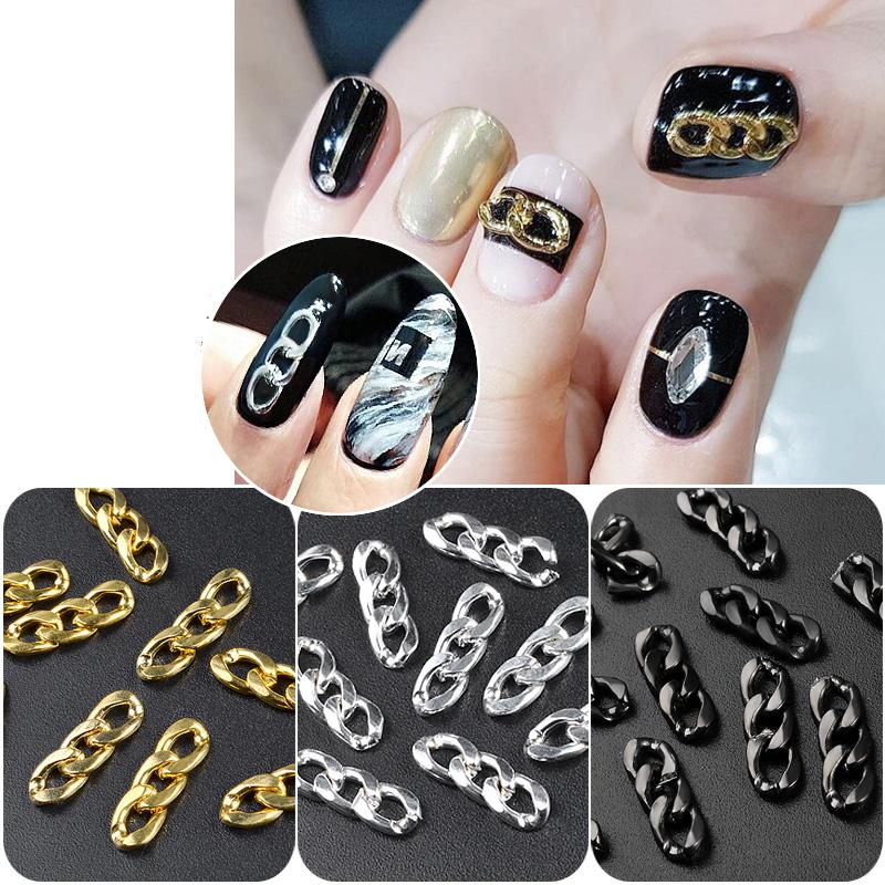 1 Pack Goldsilverblack Metal Zipper Design Nail Chains Punk Rivets