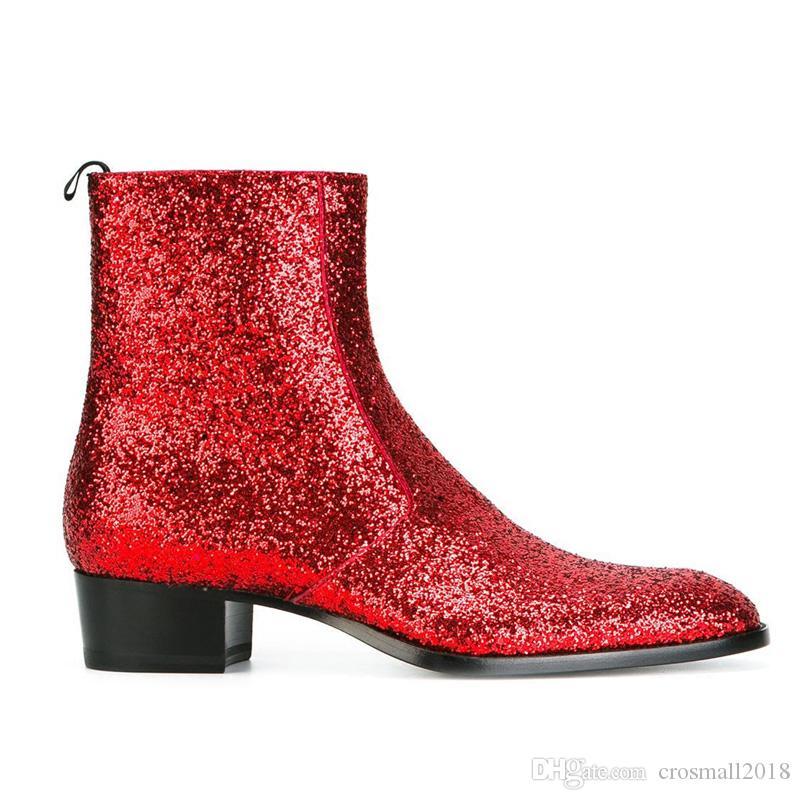Slip-on Sivri Burun erkek ayakkabı Katı kırmızı Ayak Bileği Çizmeler erkek hakiki deri çizmeler Yan fermuar düşük topuk Glitterysl Yüksek Üst ayakkabı tıknaz topuk
