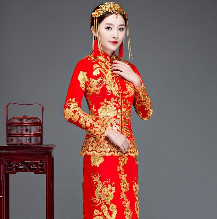 587571195 Compre Novia Cheongsam Vintage Vestido De Novia De Estilo Chino Vestido De Brindis  Retro Lady Bordado Phoenix Vestido De Matrimonio Qipao Rojo Ropa A  91.6 ...