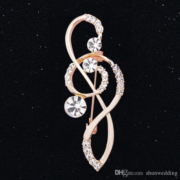 Женская горный хрусталь музыка Примечание шарф брошь скрипичный ключ Pin ювелирные изделия свадьба день рождения рождественский подарок