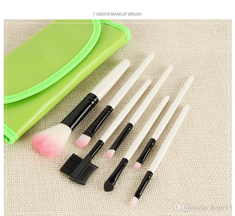 7 pz Pennello Trucco Set Personal Blush Ombretto In Polvere Fpundation Pennello Cosmetico Del Viso Con Sacchetto DELL'UNITÀ di elaborazione 9 colori in azione