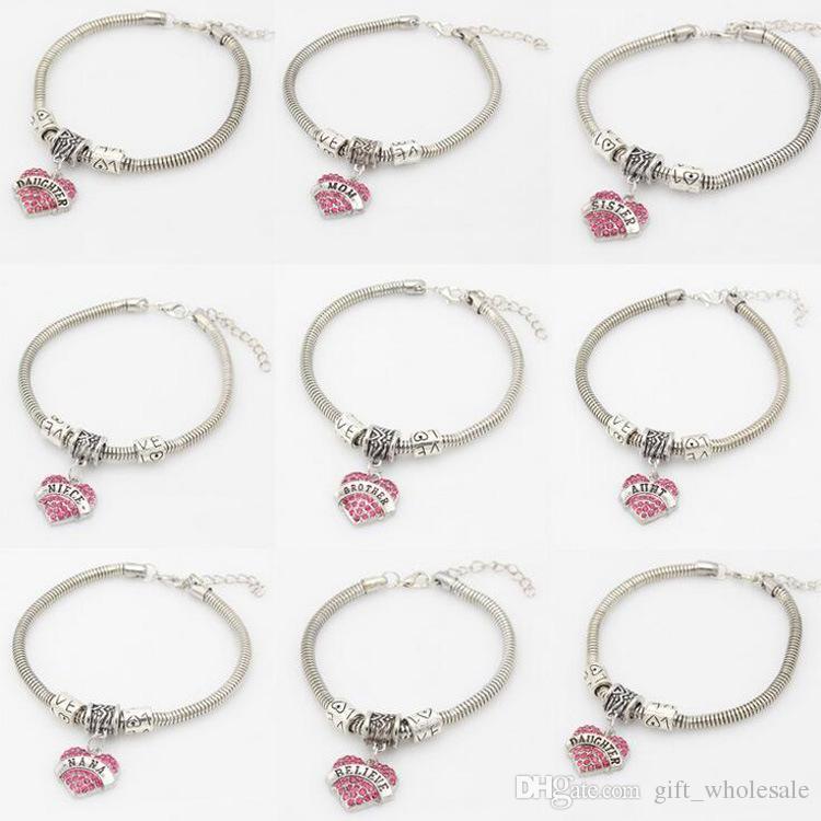 21 tipos de Diamante amor Coração pulseira de cristal membro da família Mãe Filha Avó Acredite Fé Esperança pulseira melhor amigo para as mulheres