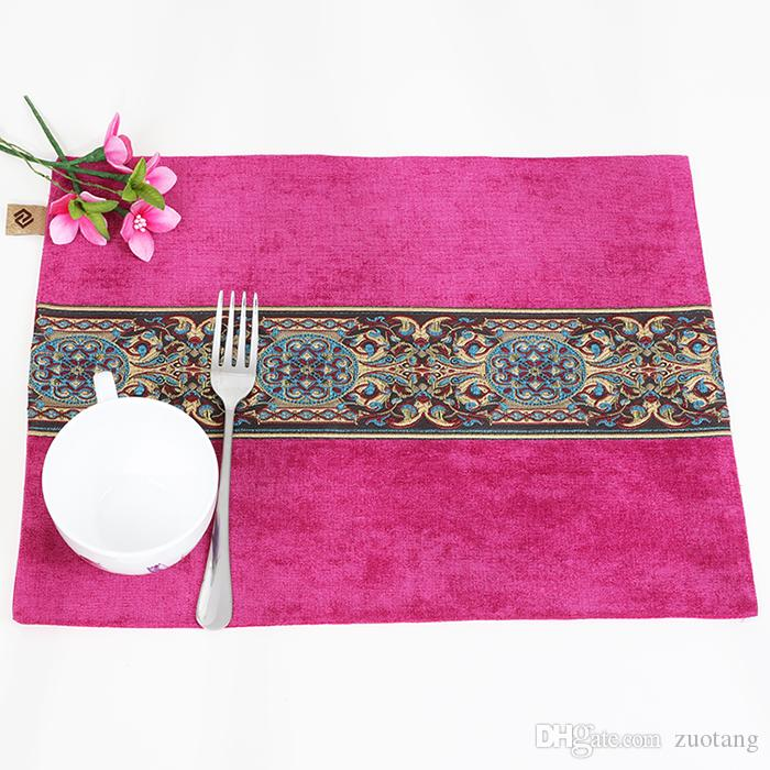 Velvet Fabric Patchwork Lace Placemat Dining Table Mat Waterproof Coffee Coaster Rectangle Decorative Western Pad 40x32 cm