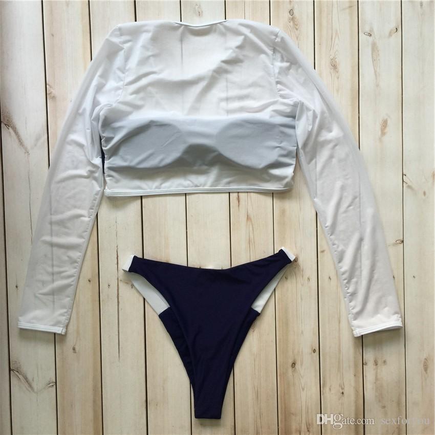Mesh Swimsuits Long Sleeve Swimwear Women Swimming Suit Sexy Bikini Set Bathing Suit High Cut Biquini Maillot De Bain