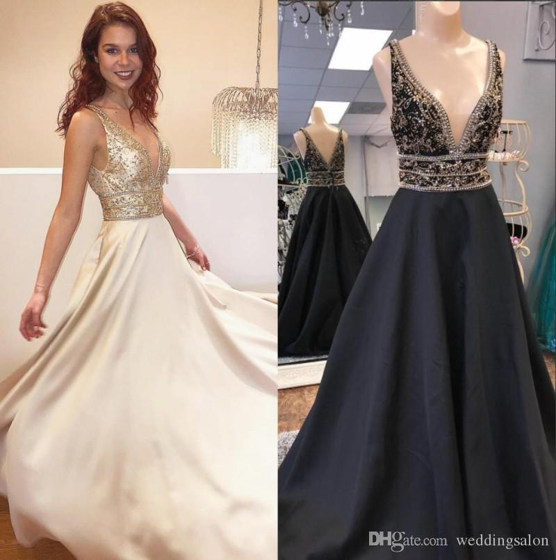 0d891ff8 Stylish Beaded Backless Prom Dresses Deep V Neck Sequined Plus Size Evening  Gowns Floor Length Vestidos De Fiesta A Line Satin Formal Dress Size 16 Prom  ...