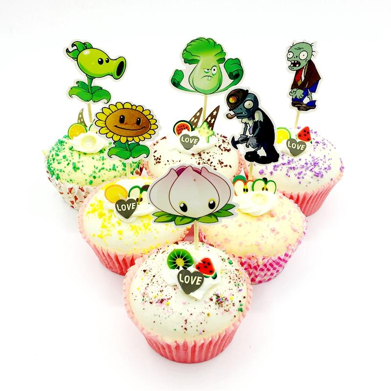 2019 Plants Vs Zombies Cupcake Topper Pick Kids Birthday Party Cake