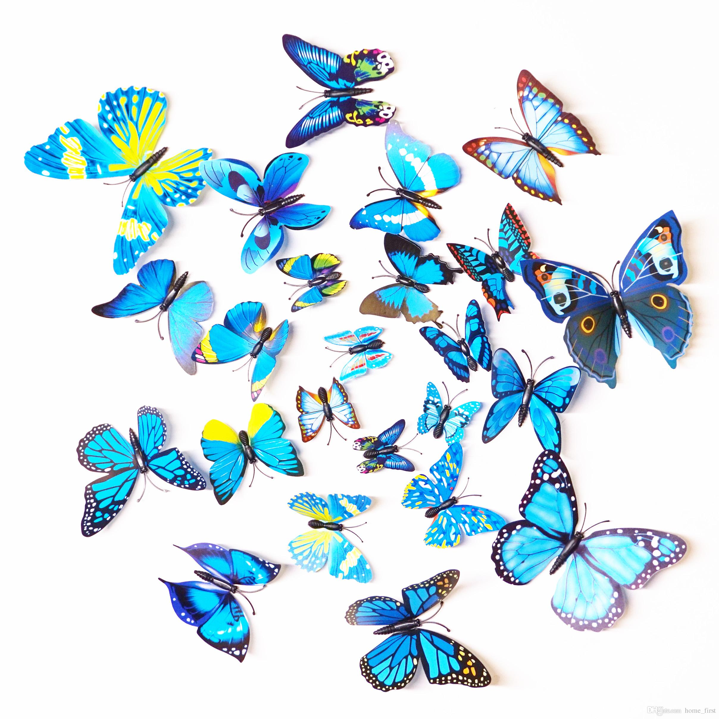 Stereo 3D Fashion Beautiful Full Color Simulation Butterfly Wall Stickers Decals Home Decor for Fridge Living Room Home Decoration