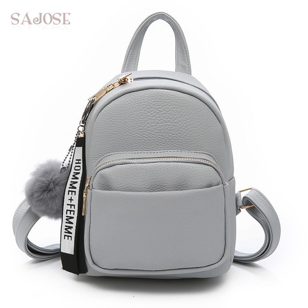 0fff27db17 Backpack Women Fashion Leather School Bag Gray Pendant Strap Girl Student  Style Splicing Lady Shoulder Bag Drop Shipping Hydration Backpack Womens  Backpacks ...