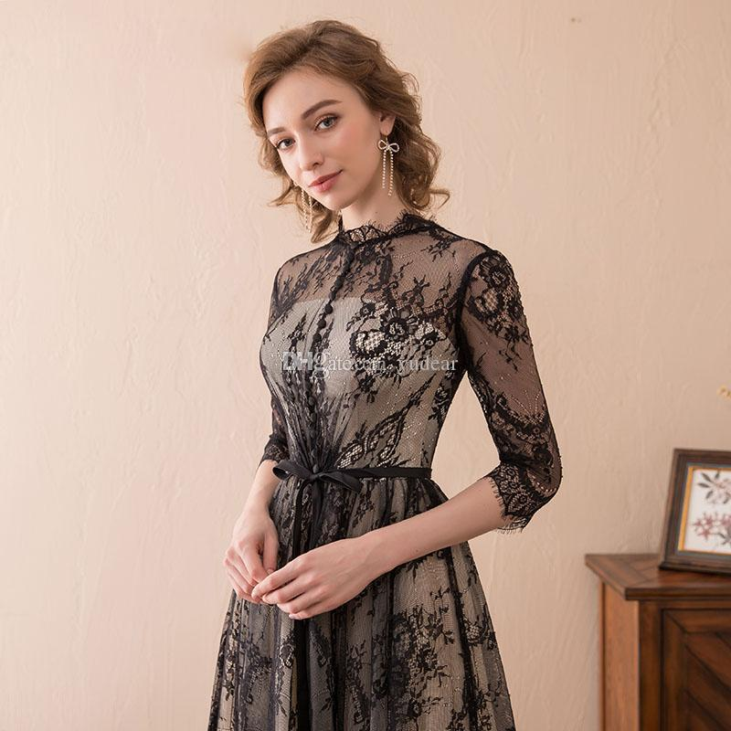 2019 Vintage Black Lace Women Evening Dresses A-line Sweep Train Long Sleeves Cover Buttons Banquet Prom Dresses Good In Stock Party Dresses