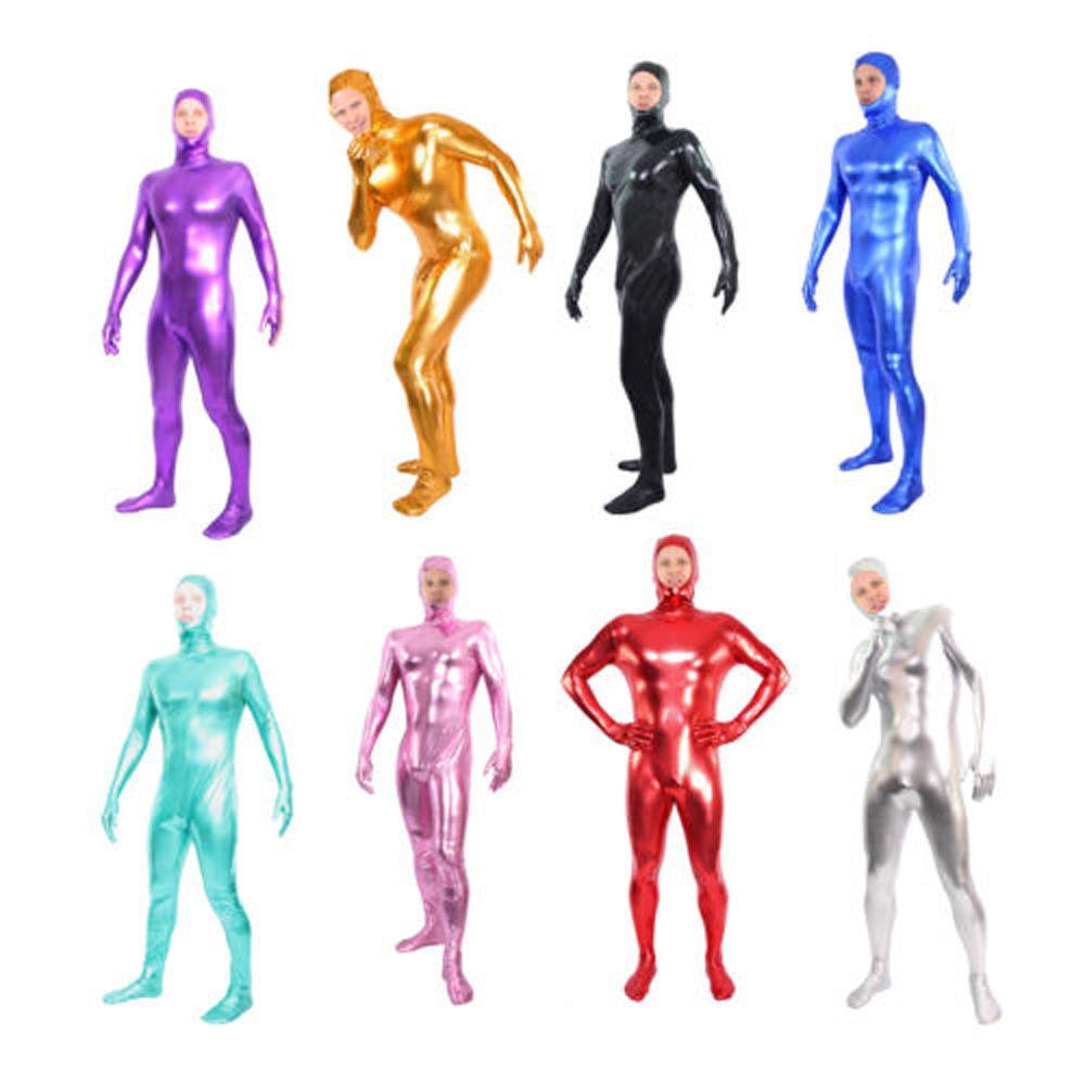 Brillante Metallic Lycra / Spandex Zentai Catsuit Body Suit Open Face - Cremallera trasera