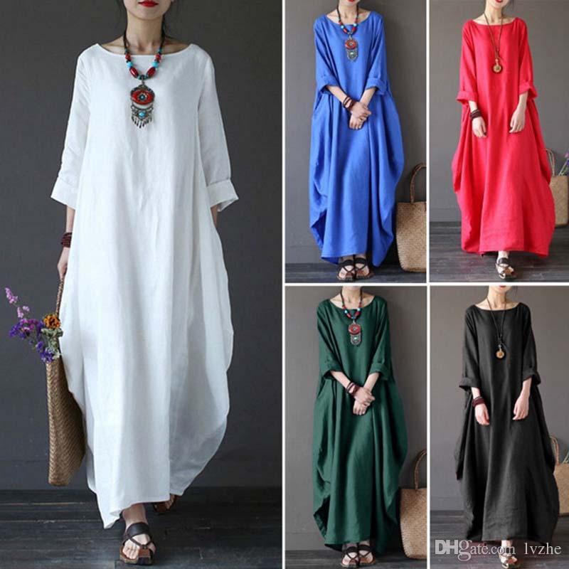 2018 nuevas mujeres ocasionales de manga larga floja holgada de algodón largo maxi vestido Kaftan más tamaño