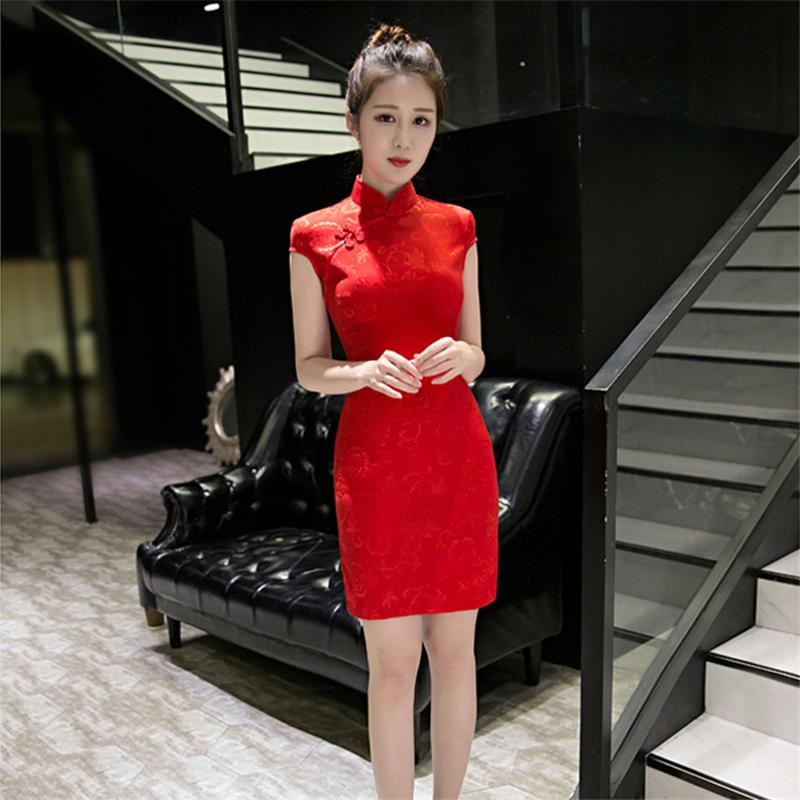 2019 Noriviiq Qipao Chinese Red Slim Cheongsam Dress New Wedding