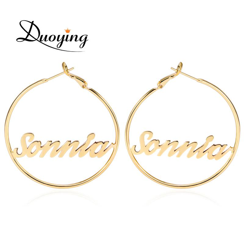 Whole Saleduoying Circle Name Earrings 45 Mm Hoop Earrings For Etsy Celebrity Style Round Personalized Custom Name Earring For Women Gifts
