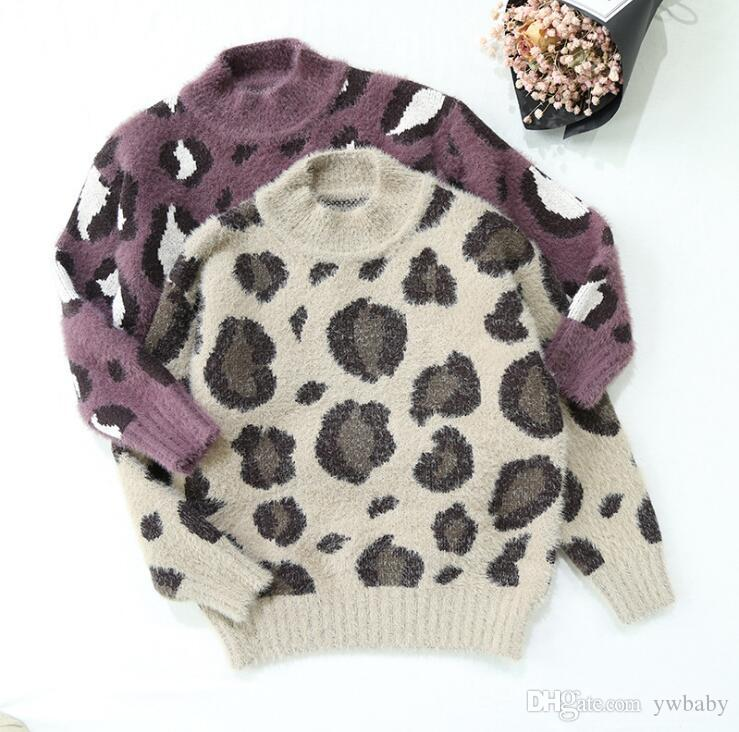Girl Sweater Kids Clothing Winter Knit Leopard Jumper Pullover