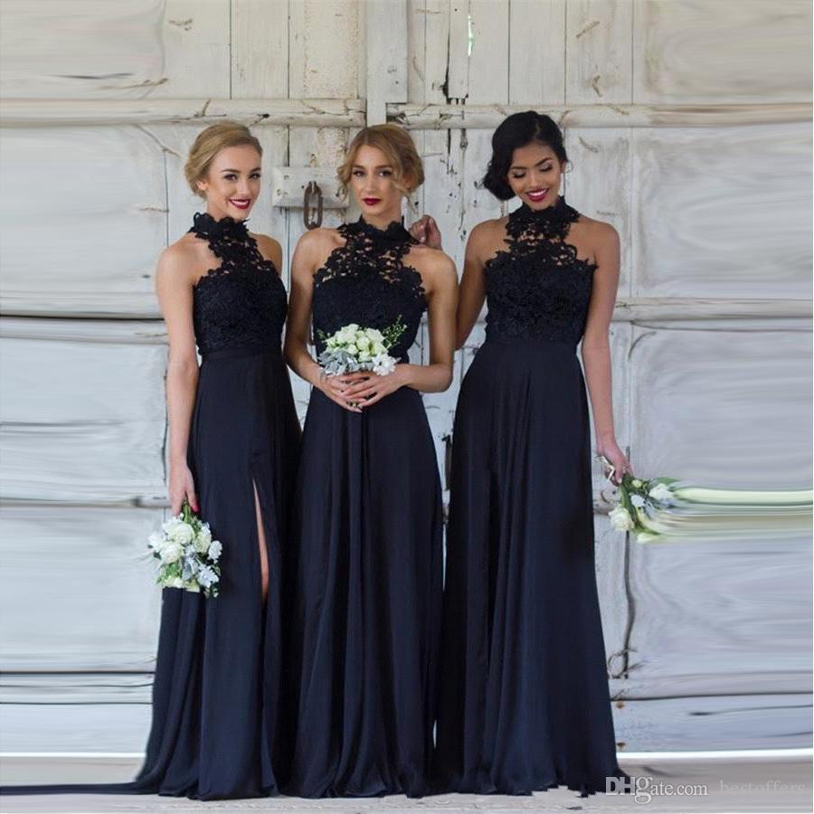 Vintage Halter Lace Long Bridesmaid Dresses Chiffon Split Floor Length Party  Evening Dresses For Wedding Guest BA7430 Bridesmaid Dresses Online  Champagne ... 1e6034d35f8b