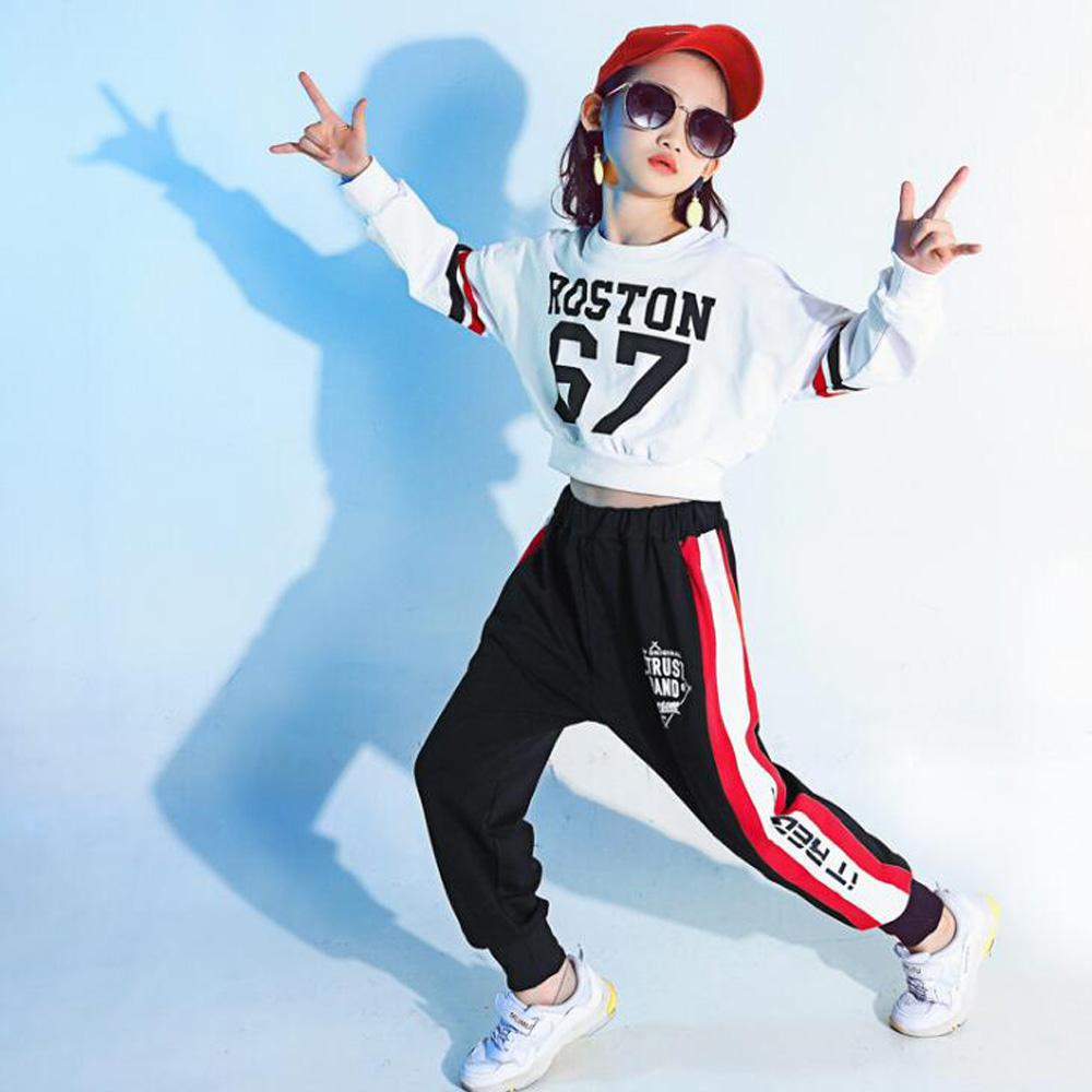 5ab5c226cbc00 Compre Girls Cool Cotton Ballroom Jazz Hip Hop Dance Competition Trajes  Traje Tops De La Camisa De Cintura Para Niños Baile Wear Outfits A  27.68  Del ...