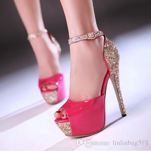 Spring and summer new models tall women's shoes sexy fish mouth sequins bride shoes.Trendy high heel sandals.