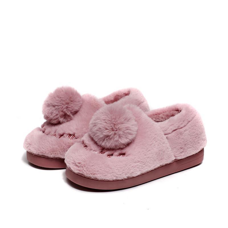 c563115d31306 2018 Winter High Quality Women Indoor Slippers Lovely Flock Ball ...