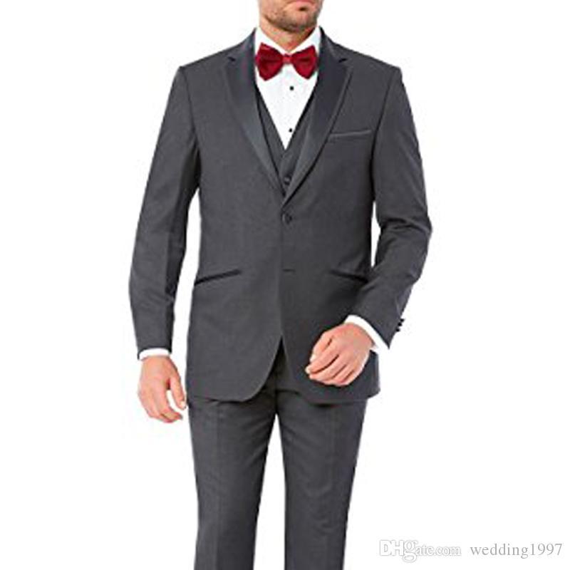 2018 novio de la boda gris Tuxedso padrinos de boda desgaste de tres piezas chaqueta chaleco chaleco con solapa muesca por encargo negocios trajes de hombres formales