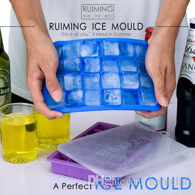24 Slot Silicone Freeze Ice Cube Mold DIY Pudding Jelly Maker Mould Soft  Bendable Ice Cubes Tray Molds with Cover drop