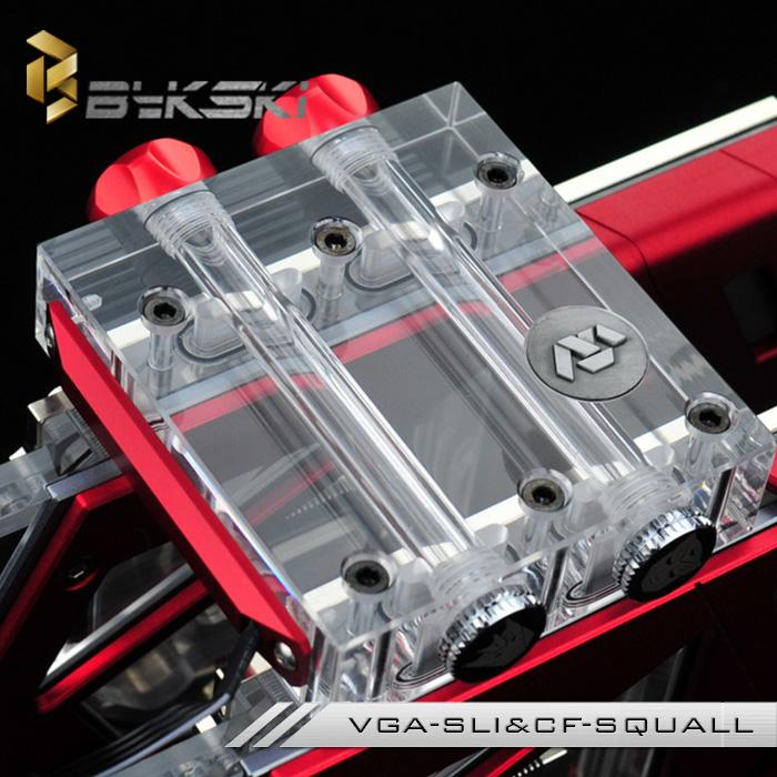 Bykski VGA-SLI&CF-SQUALL VGA Water Cooling Block SLI/Crossfire Module Bridge Connection Fitting for Two or Three Graphics Cards