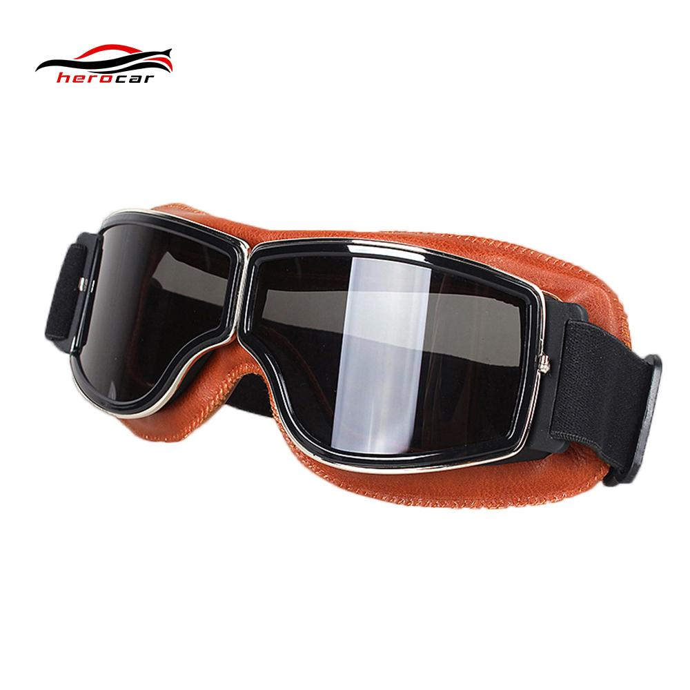 3163d3475db5 Cool Vintage Motorcycle Goggles Men Retro Pilot Aviator Motorbike ...