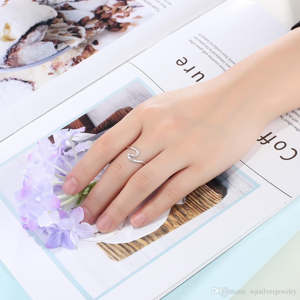 Genuine 925 Presentes Sterling Silver Wave Design Anéis Mulheres Midi Anéis Novo Aniversário Anel Moda italiana de jóias presente para meninas