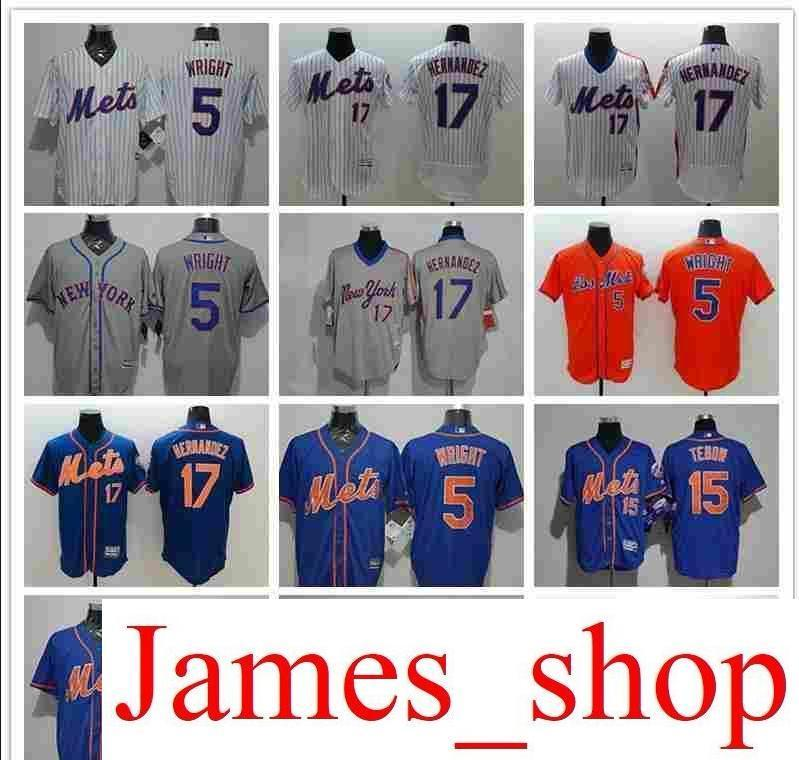 detailed look 614fb d72c8 2019 Men s Women Youth NY Mets Jersey #5 David Wright 15 Tim Tebow 17 Keith  Hernandez Baseball Jerseys
