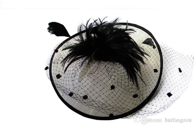 Vintage Lady Black and Ivory Hat Perfect Birdcage Headpiece Head Veil Feather Wedding Bridal Accessories Party Women Bride Fascinator Hat