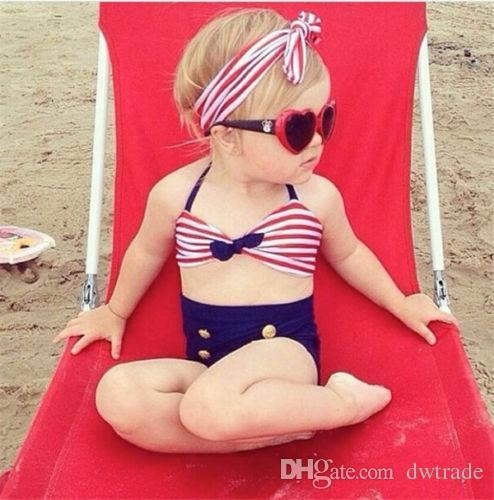 PrettyBaby Kore Bebek Kız Bikini Çocuklar Kız Mayo Bebek Mayo Fırfır Yay Prenses Üç Adet Yüzmek Sevimli mayo 3 adet set